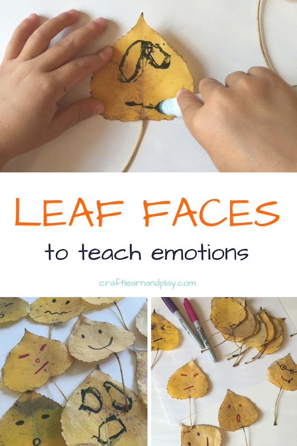 Simple fall activities for toddlers and preschoolers to teach about emotions. Feelings are hard concept for a young children and this is perfect activity to learn through play. Click for full article. #kidsactivities #fallactivites #leafcrafts #feelings #emotions #emotionfaces