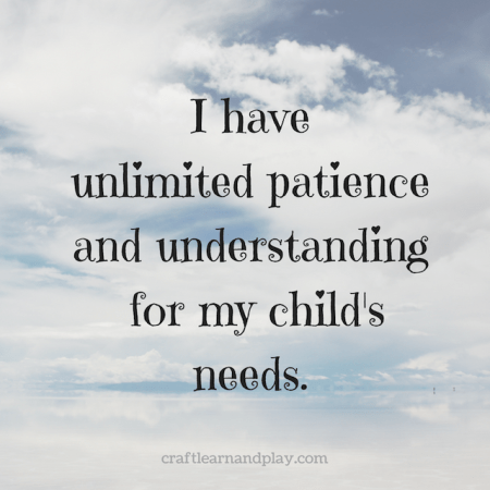 Positive affirmations for moms to stay calm and patient with kids. Inspirational quote for moms