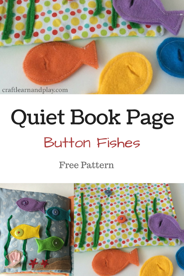 Button fishes quiet book page for toddlers to practice buttoning skills. Click fro free pattern download