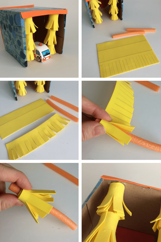 diy car wash toy - car wash brushes tutorial