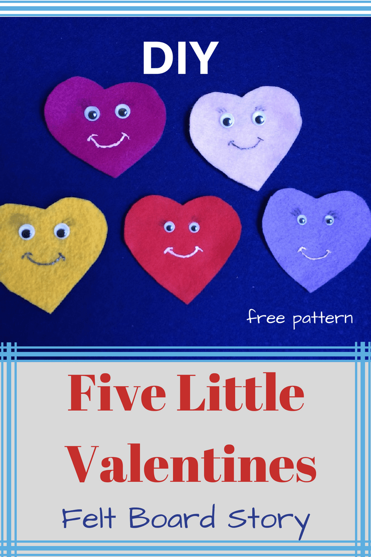 DIY Felt board story -Five Little Valentines is great for young kids to play story time. t is easy to make out of felt. Get your free template with click on the link