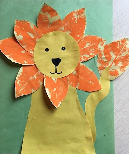 Make Vibrant Lion Craft With Leaf Stamping