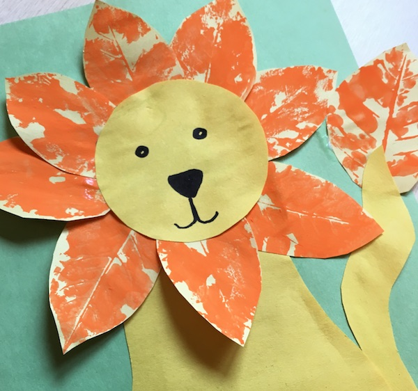 leaf-stamping-lion-craft