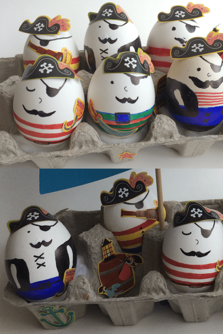 Pirate egg crafts and egg cartoon ship. Great for easter egg decoration and for play. Click to visit pirate play-land!