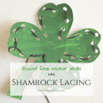 Great way to boost fine motor skills: Shamrock lacing