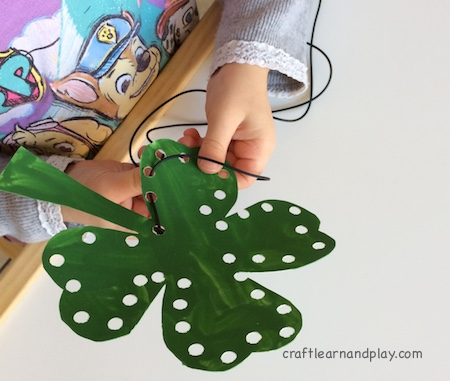 st patrick's day activities for kids - shamrock lacing