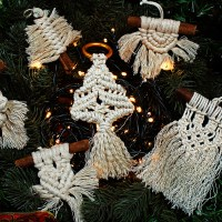 Macrame christmas ornaments/ Μακραμέ χριστουγεννιάτικα στολίδια