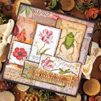 "Scrapbooking 6 x 6 accordion album ""Fleurs"""
