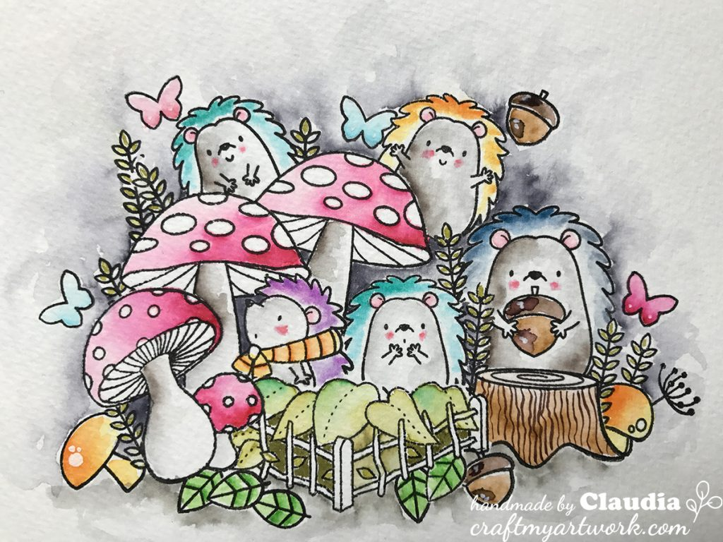MFT watercolor hedgehogs with mushrooms watercolor closeup