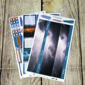 Thunder & Lightning Monthly Sticker Set, Customizable, TPC NATION/ACADEMIC/A5 Wide