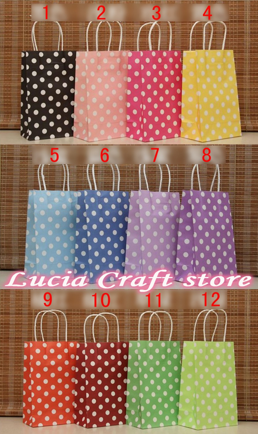 3 Designs of Cute Crafts Using Paper Bags Sale Lucia Crafts 21138cm Polka Dot Kraft Paper Gift Bag