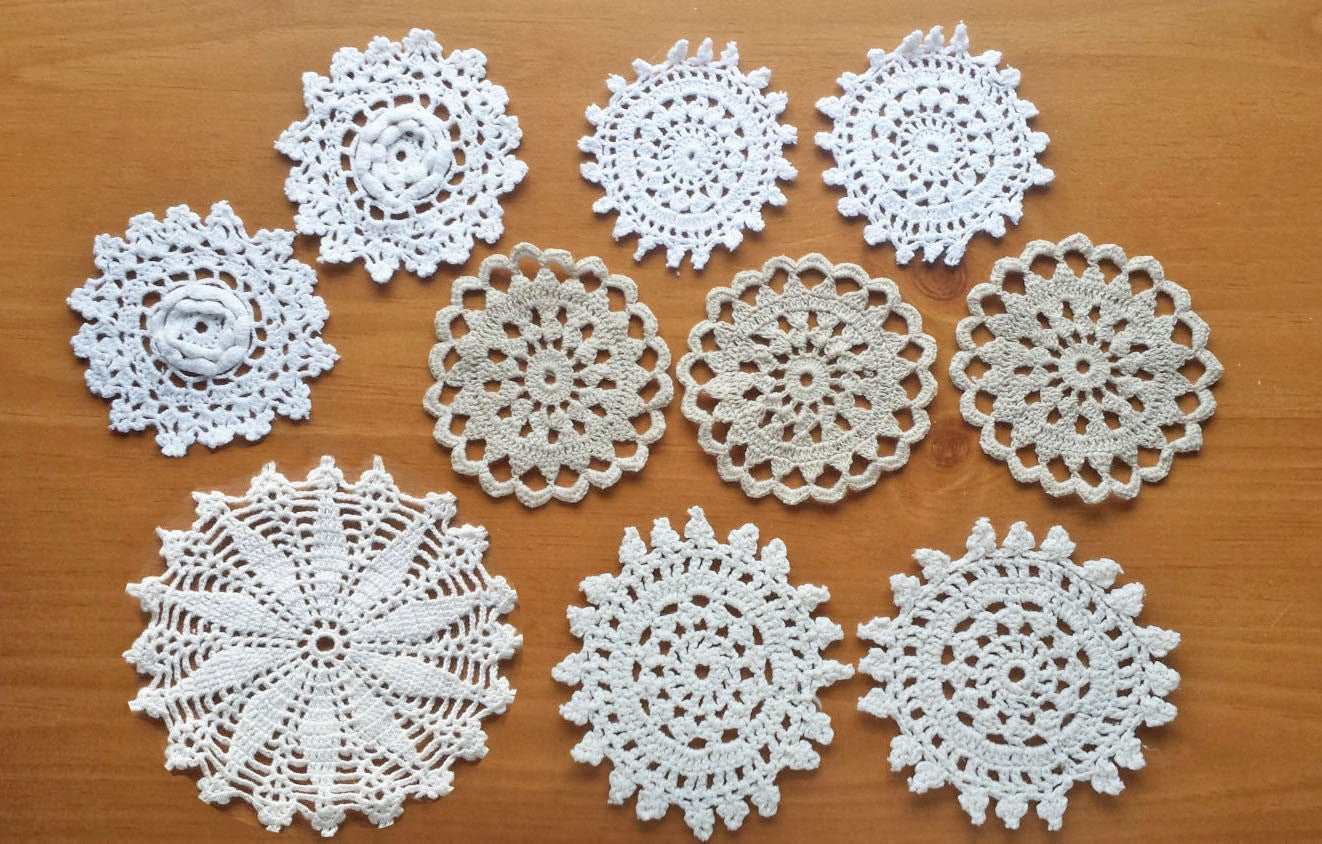 3 Pretty Designs of Craft Paper Doilies 10 Vintage Crochet Doily Medallions Small Craft Doilies 25 Etsy