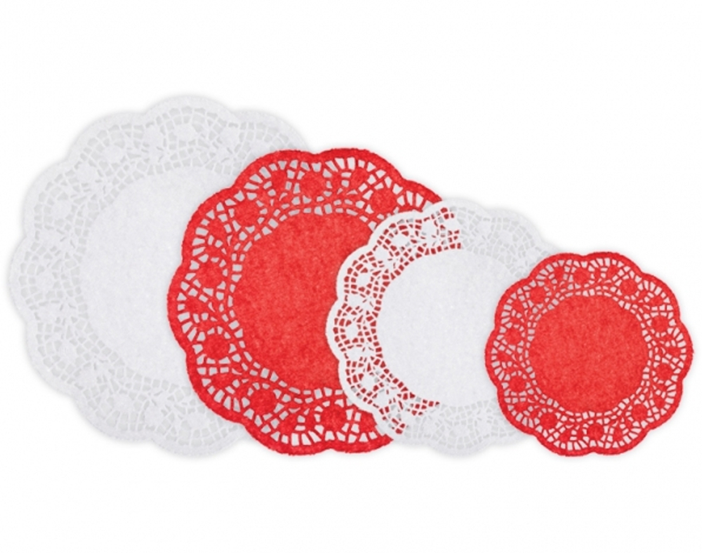 3 Pretty Designs of Craft Paper Doilies 40 Red White Paper Doilies Sets For Crafts