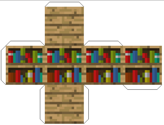 Amazing Paper Craft Minecraft Blocks Bookshelf paper craft minecraft blocks|craftrating.com