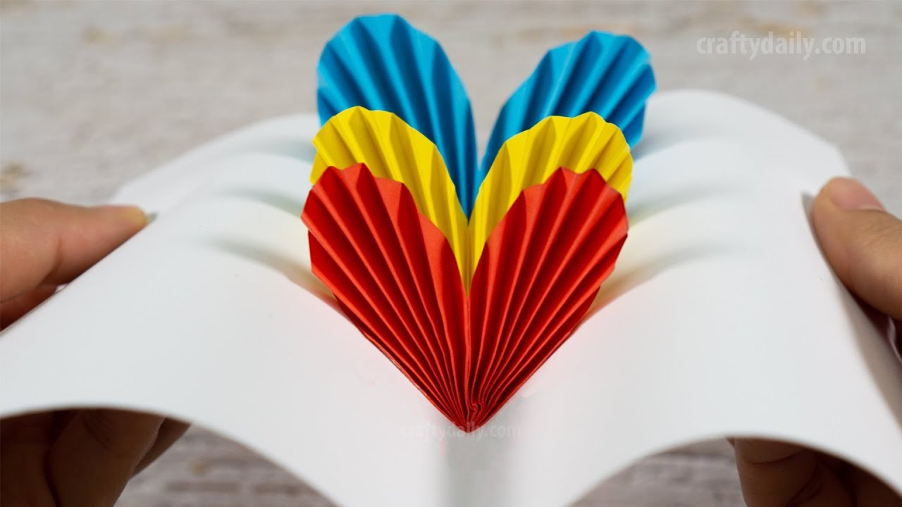 Awesome valentine construction paper crafts 3d Pop Up Heart Card Diy Valentine Day Cards Handmade Cards