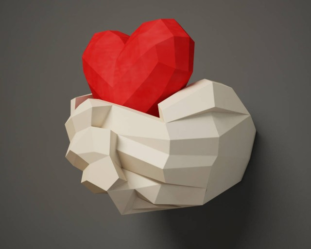 Awesome valentine construction paper crafts Paper Craft Hands With Heart Papercraft 3d Wall Decor Diy Etsy