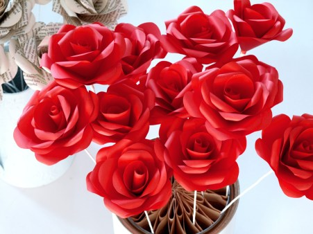 Craft Paper Flowers Roses Paper Roses Crafted From Recycled Or New Papers For Decor Or Events