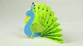 Crafts With Paper For Kids Paper Crafts For Kids Easy Blue And Neon Peacock With Paper Youtube