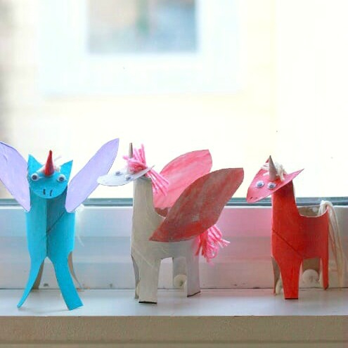 Creative crafts with toilet paper roll A Happy Handmade Unicorn Craft Made From Cardboard Tubes