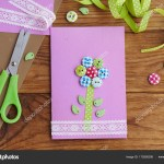 Easy Paper Craft Ideas For Kids Beautiful Greeting Card On A Wooden Table Greeting Paper Card For