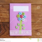 Easy Paper Craft Ideas For Kids Greeting Card Isolated On A Brown Wooden Background Greeting Paper
