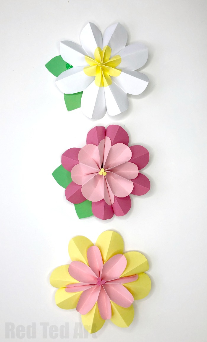 How to Make a Paper Crafts for Gifts Easy 3d Paper Flowers For Spring Red Ted Art