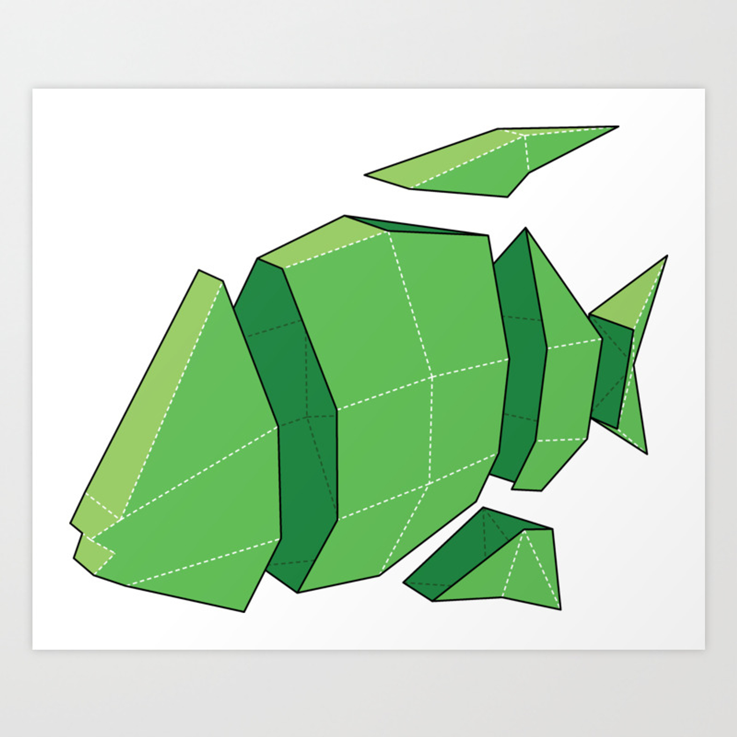 How to Make Paper Craft Fish for Kids Illustration Of A 3d Paper Craft Fish Model Art Print