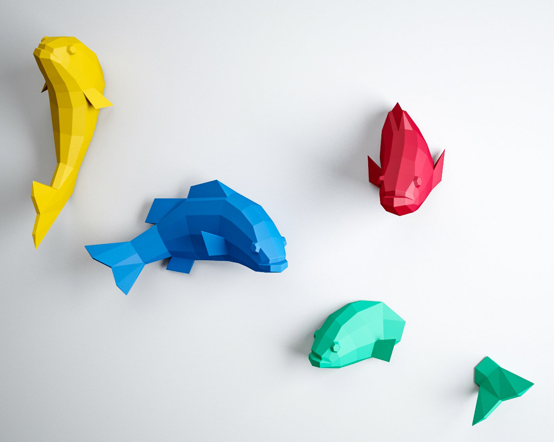 How to Make Paper Craft Fish for Kids Papercraft 3d Fish Origami Paper Craft Paper Sculpture 3d Etsy