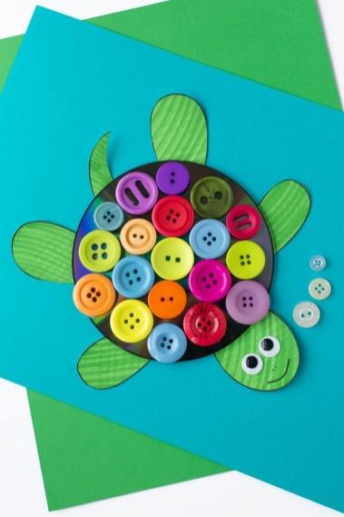 Kids Paper Crafts Cd And Button Turtle Craft Fun Kids Activities Pinterest
