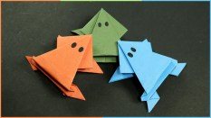 Kids Paper Crafts Origami Frog That Jumps Easy Fun Paper Craft For Kids Youtube