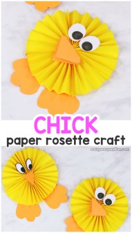 Kids Paper Crafts Paper Rosette Chick Easy Easter Paper Craft Easy Peasy And Fun
