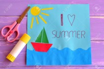 Kindergarten Paper Crafts Colorful Paper Card With Ship Sea Sun And Words I Love Summer