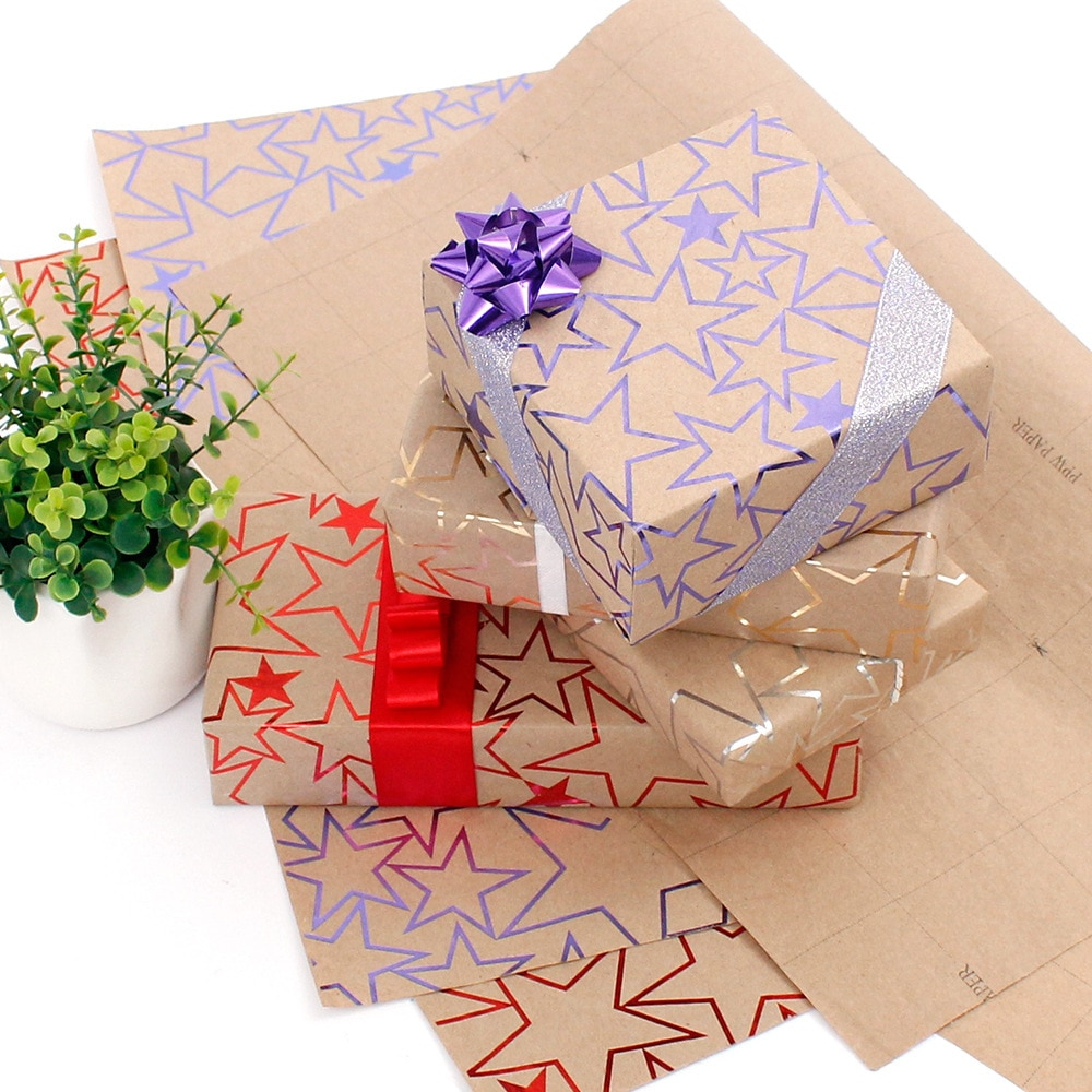 Make reuse crafts with wrapping paper leftover 10pcs 50x70cm Gilding Shiny Star Christmas Gift Packing Paper Flower Wrapping Paper Diy Crafts Supplies Christmas Decor For Home