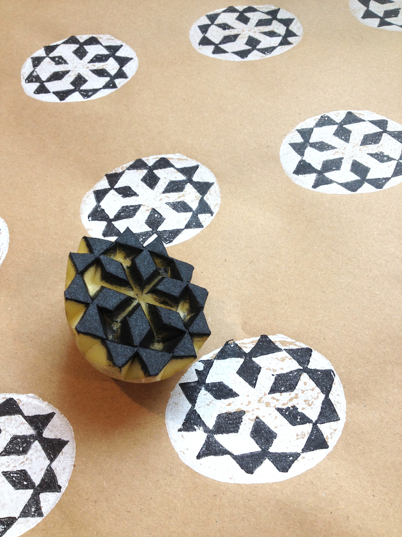 Make reuse crafts with wrapping paper leftover Potato Print Wrapping Paper Linocutboy