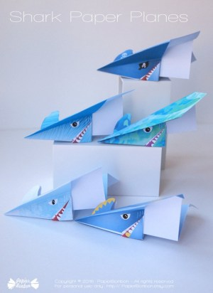Paper Airplane Craft Paper Airplane Printable Shark Paper Planes Airplane Paper Etsy