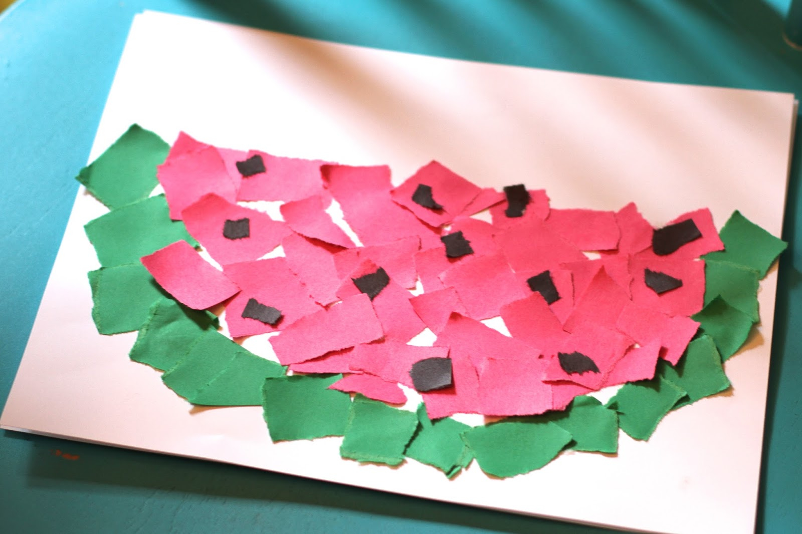 Simple and Cute Construction Paper Crafts for Kids Simple Summer Craft Ripped Paper Watermelon The Chirping Moms