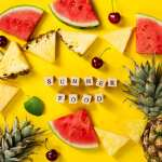 Summer Cherry Watermelon Pineapple Yellow Background Hd Wallpaper Preview