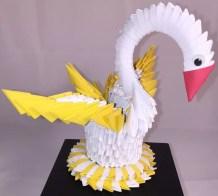Swan Paper Craft Korean Origami Swan With Eyes Red Beak Yellow Tail Ancient Asian