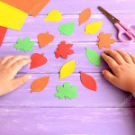The Simple Paper Crafts For Toddlers Using Scissor Skill Child Cut Out Of Colored Paper Fall Leaves Kid Doing Fall Paper