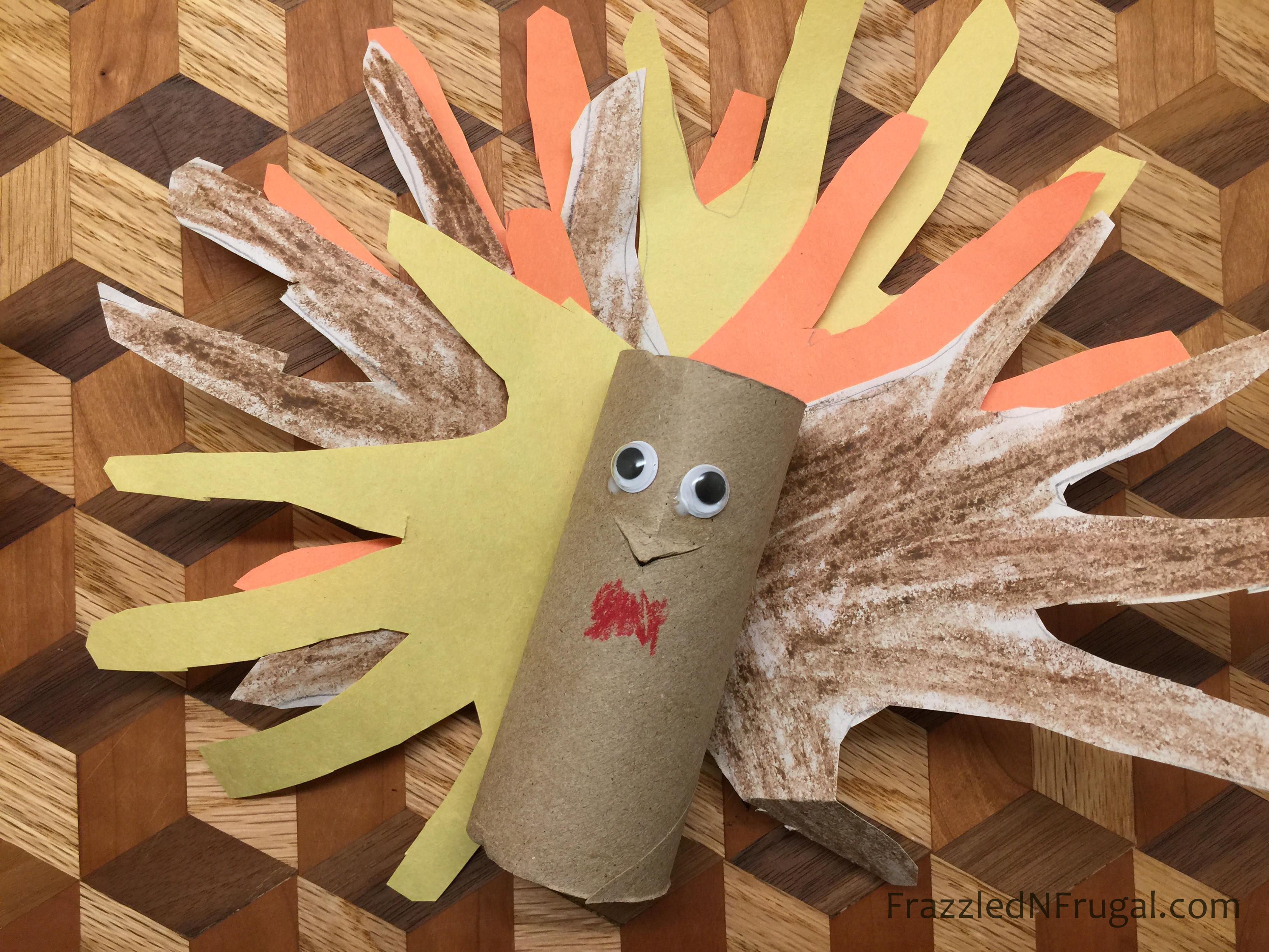 Toilet paper turkey craft for Thanksgiving decor Toilet Paper Roll Turkey Craft For Kids Frazzled N Frugal