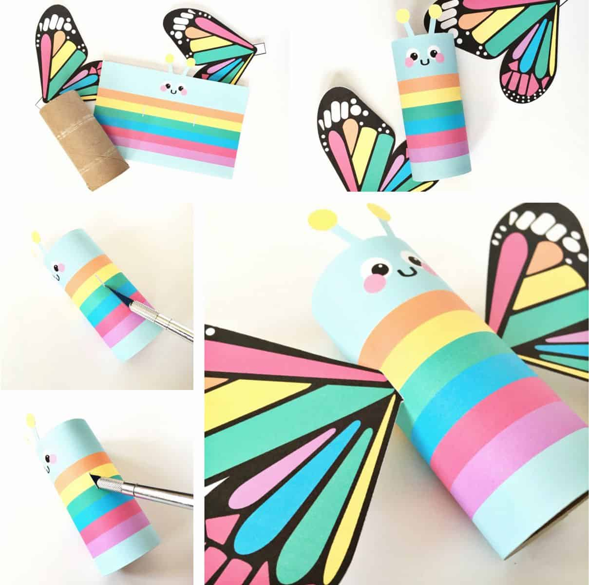 Ways on Making Tissue Paper Rainbow Craft Rainbow Butterfly Paper Tube Craft With Free Printables