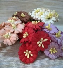 Wedding Paper Crafts 50 Daisy Flower Mixed Color Mulberry Paper Crafts Embellishments