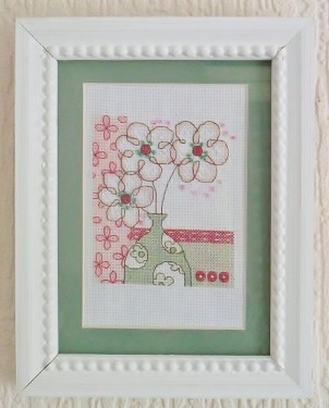 Cross Stitch, Floral, Flowers, Green, Pink, Gift, Cross Stitcher Magazine, Framed Cross Stitch