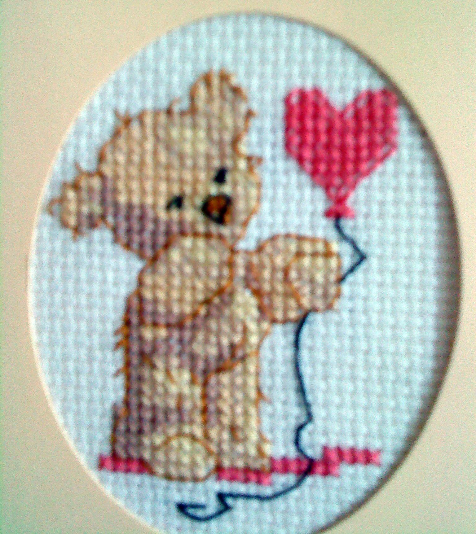 cross stitch bear holding heart balloon in cream card