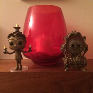 Lumiere and Cogsworth Beauty and the Beast Funko Pop figures