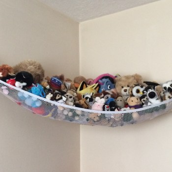 Soft toy memento collection, mostly collected on travels and days out, keepsakes, cuddly toys in hammock