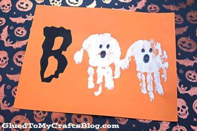 Boo handprint halloween art
