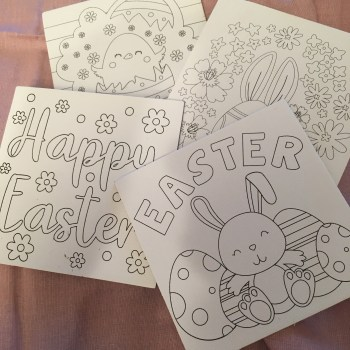 """Easter Canvas squares x4 with bunny and egg imagery, and """"Happy Easter"""" wording"""