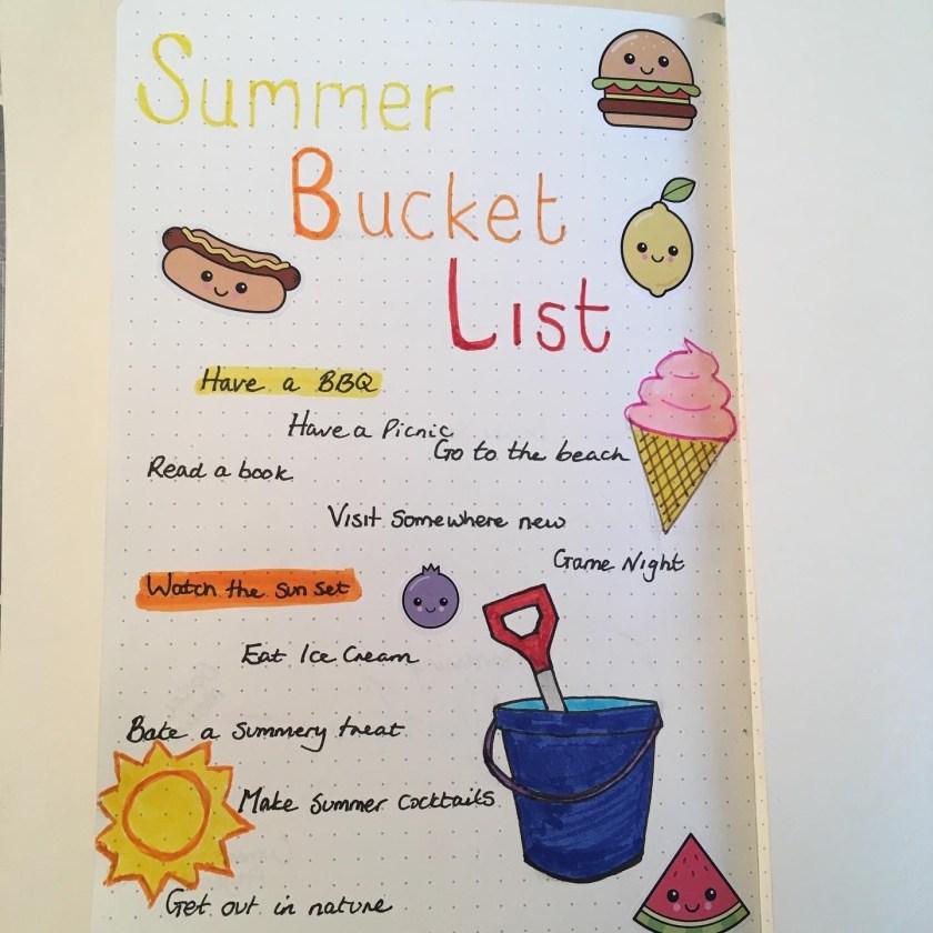 Bujo Summer Bucket List