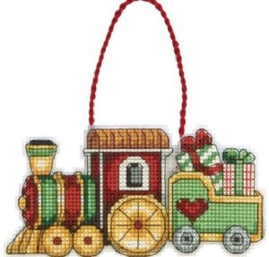 train cross stitch ornament kit